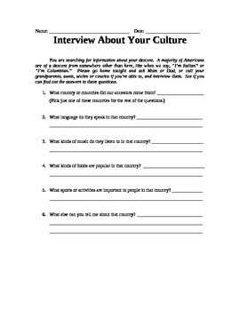 Culture-Gram: Interview Your Family
