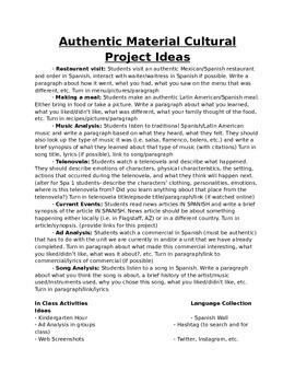 Culture Project Ideas