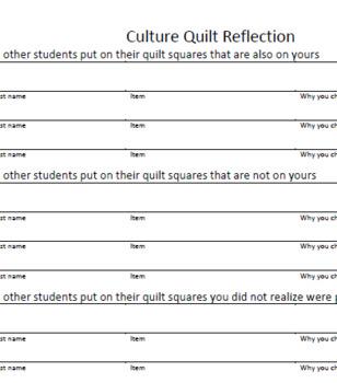 Culture Quilt - Community building activity/Lesson