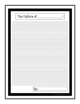 Culture Research Pack: Question Cards, Graphic Organizers, Report Paper