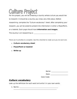 Culture Research Project