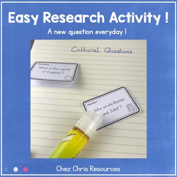Warm Up Activity : Cultural Questions Set 1 - EDITABLE