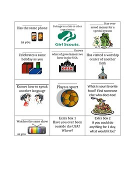 Culture introduction- beginning of the year activity- getting to know you