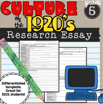 Culture of 1920's Research Essay Template Jazz Age 5th grade SS5H2