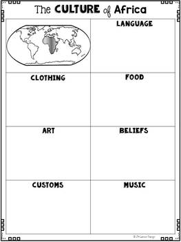 Culture of Continents: Graphic Organizers