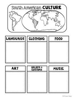 Culture of Continents: Interactive Notebook Pages
