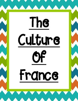 Culture of France Graphic Organizer