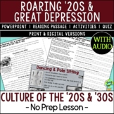 Culture of the 1920s & 1930s, Harlem Renaissance, Jazz Age, Roaring '20s