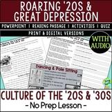 Culture of the '20s & '30s, Harlem Renaissance/Jazz Age; D