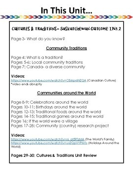 Cultures and Traditions- SK Outcome IN3.2