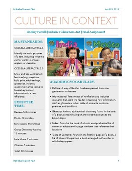 Cultures in Context: Reading Lesson *Elementary*