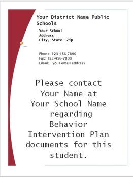 Cum Folder Note Customizable End of Year PBIS Behavior SIT