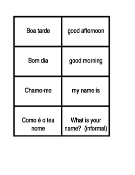 Cumprimentos e Despedidas (Greetings in Portuguese) Concentration games