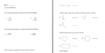 Cumulative 4th grade math test (give in March)