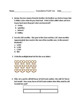 Cumulative Assessment- Addition, Subtraction, PFL, Multiplication