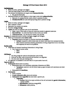 """Biology Final Exam """"cheat sheet"""" for SPED students"""