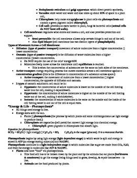 "Biology Final Exam ""cheat sheet"" for Students with Learning Difficulties/IEPs"