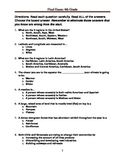 Cumulative Final Exam for 6th World Cultures
