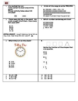 Cumulative Quick Math Quiz