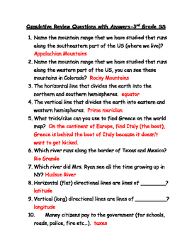 Cumulative Review Questions with Answers-3rd Grade SS
