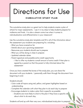 Individualized Cumulative Study Plan