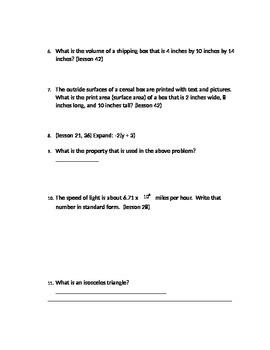 Saxon math course 3 Final exam