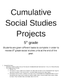 Cumulative social studies project 5th grade