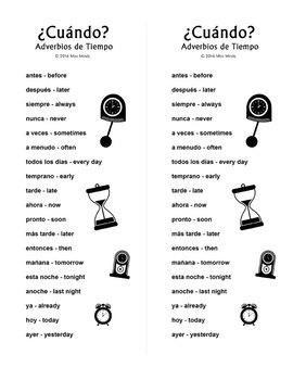 ¿Cuándo? Spanish Question, Adverbios de Tiempo, Interrogativos Crossword Puzzle
