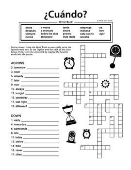¿Cuándo? Spanish Question, Adverbios de Tiempo, Interrogativos Puzzle Set