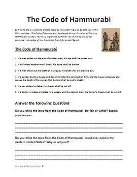 Cuneiform and the Code of Hammurabi (Double Worksheet!)