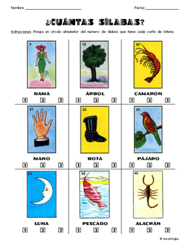 ¿Cuántas Sílabas? (How Many Syllables?) Spanish Worksheets (Set of 5)