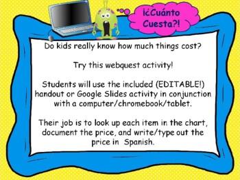 ¿Cuánto Cuesta?-EDITABLE  Webquest activity Spanish Numbers practice