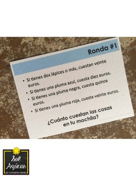 Cuánto cuestan las cosas en tu mochila - Spanish School Supply Game