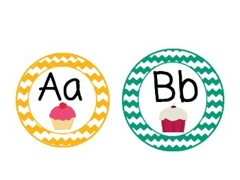 Cup Cake Themed Word Wall Alphabet with Chevron Patterns: