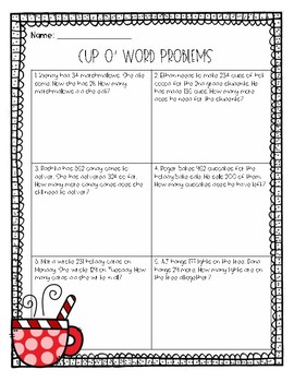 Cup O' Word Problems Addition and Subtraction Freebie