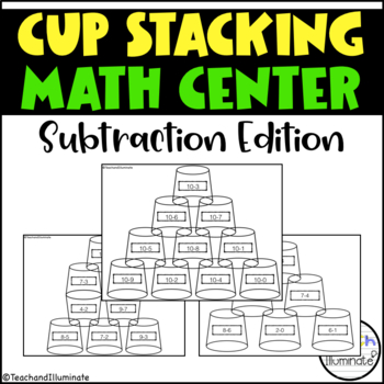 Cup Stack Math Center (subtraction within 10)