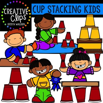 Cup Stacking Kids {Creative Clips Digital Clipart}