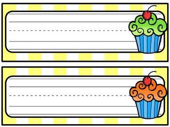Cup cake Desk Name Tags