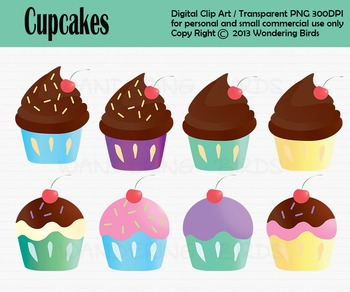 Cup cake clip art - set of 8 clip arts