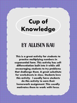 Cup of Knowledge - Multiplying Numbers in Exponential Form