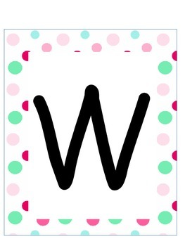 Word Wall Letters and Alphabet Heading Cupcakes and Polka Dot Theme
