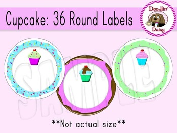 Cupcake: 36 Round Labels (12 per page)