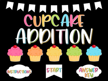Cupcake Addition Interactive Powerpoint Game - With disappearing buttons!
