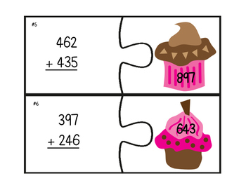 Three-Digit Addition With & Without Regrouping: Cupcake Addition