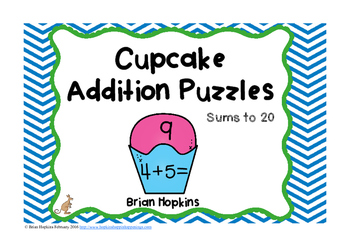 Cupcake Addition to 20 Puzzles