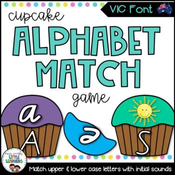 Victorian Modern Cursive Cupcake Alphabet Match Game