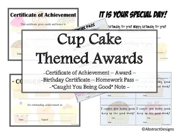 Cupcake Awards Set