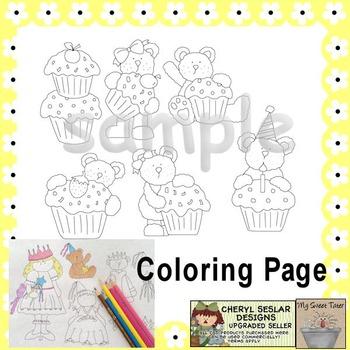 Cupcake Bears Coloring Page