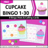 Cupcake Bingo Numbers 1 to 30 (for A4 Paper)