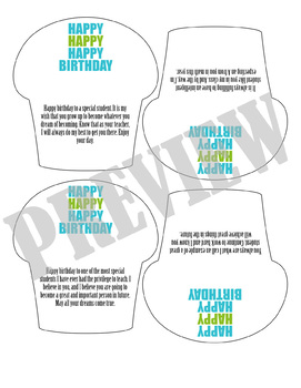 Cupcake Birthday Cards with Sentiment Options from Teacher to Student